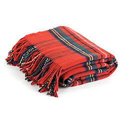Red Plaid Throw Blanket with Fringe