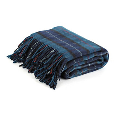Navy Plaid Throw Blanket with Fringe