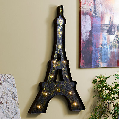 Distressed Black LED Eiffel Tower Metal Plaque