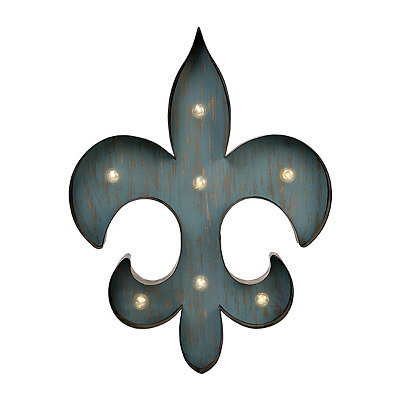 Distressed Teal LED Fleur-de-Lis Metal Plaque