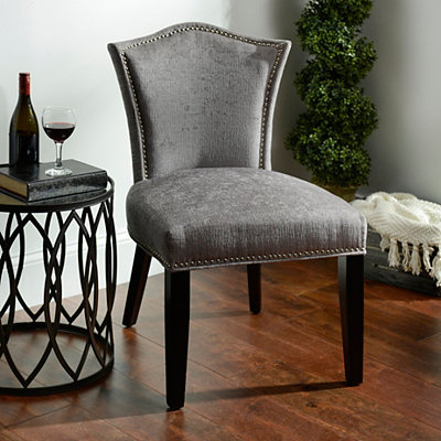Gray Nailheads Accent Chair