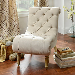 Ivory Button-Tufted Chaise Accent Chair