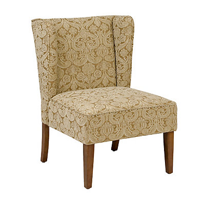 Taupe Floral Wing Back Chair