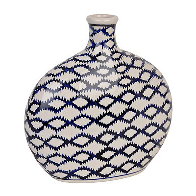 White and Blue Batik Round Vase