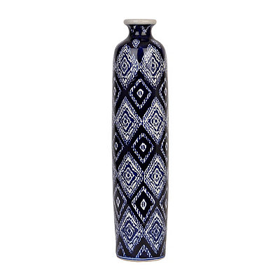 Blue and White Batik Tall Vase