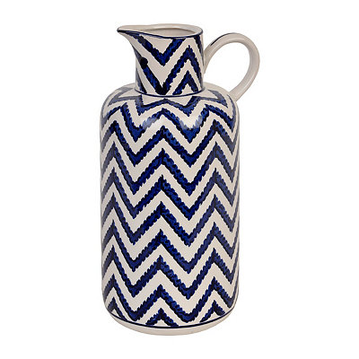 White and Blue Chevron Ceramic Pitcher