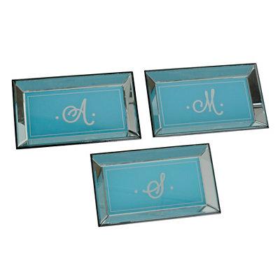 Monogram Turquoise Vanity Trays