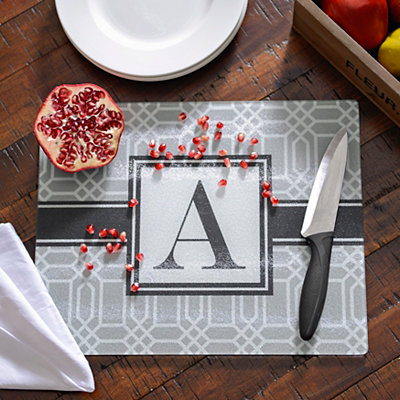 Gray Geometric Monogram Cutting Boards
