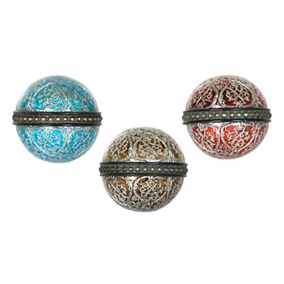 Jewel Tone Filigree Scroll Orbs, Set of 3