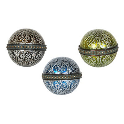 Earth Tone Filigree Scroll Orbs, Set of 3