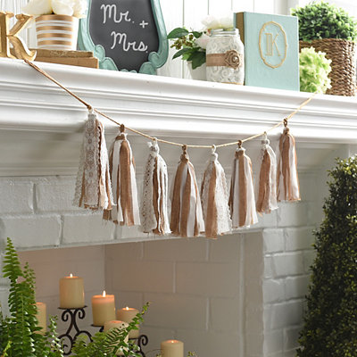 Burlap and Lace Tassel Banner