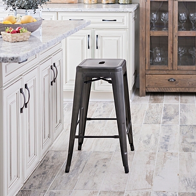 Blue Bar Stools Linen Paige Backless Counter Stool World
