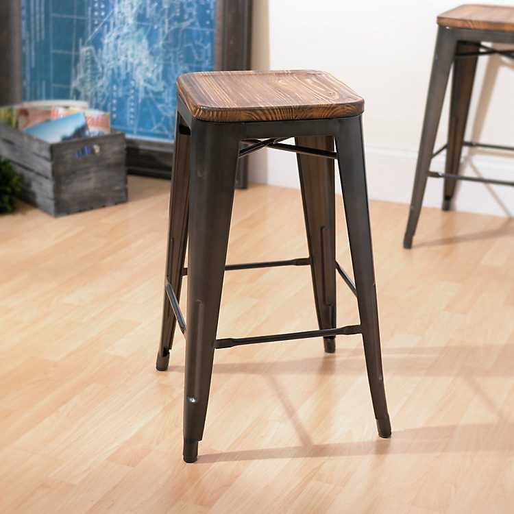 Metropolis Gunmetal Pine Wood Counter Stool Kirklands