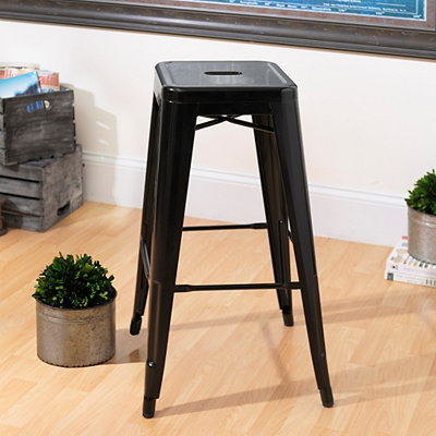 Metropolis Black Metal Bar Stool