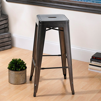 Metropolis Gunmetal Metal Bar Stool