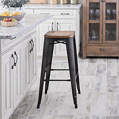 Metropolis Gunmetal Pine Wood Bar Stool