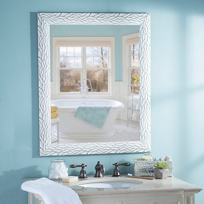 Distressed White Bark Framed Mirror, 27.5x33.5