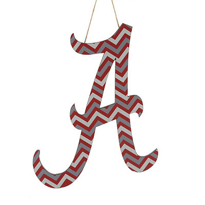 Crimson and White Chevron Alabama Wooden Plaque