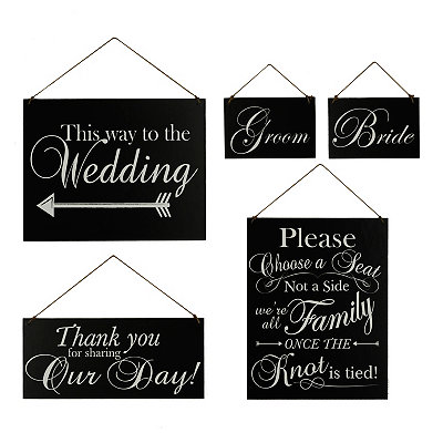 Black and White Wedding Wooden Plaques, Set of 5
