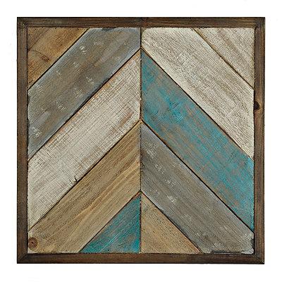 Natural Patchwork Chevron Wood Plank Plaque