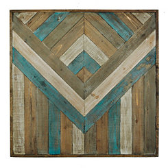 Patchwork Arrow Wood Plank Plaque