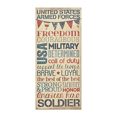 US Military Typography Canvas Plaque