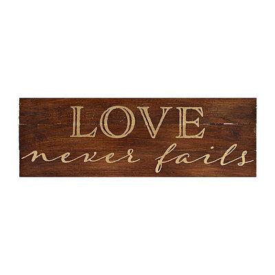 Love Never Fails Gold Foil Plaque