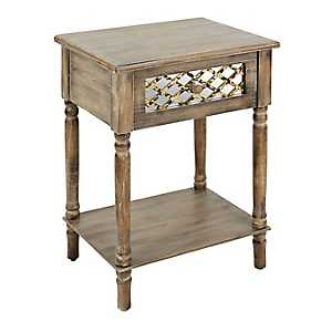 Distressed Rustic Mirrored Side Table