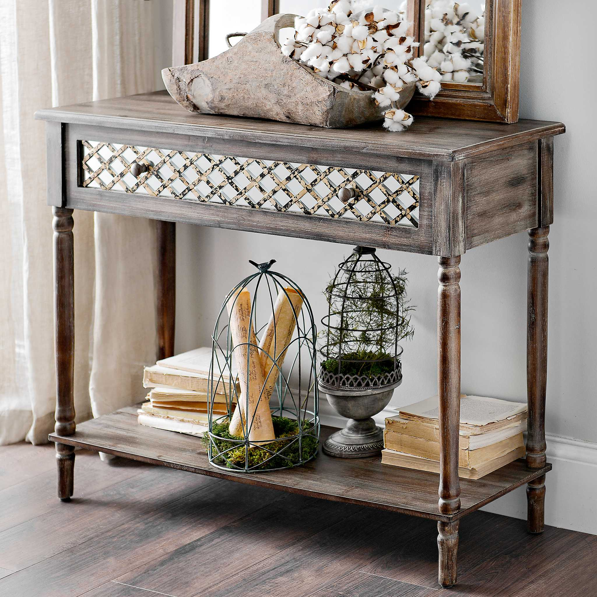 Foyer Cabinet Xl : Distressed rustic mirrored console table kirklands