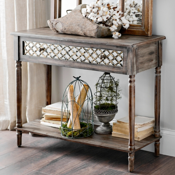 Distressed Rustic Mirrored Console Table