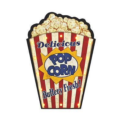 LED Popcorn Wooden Plaque
