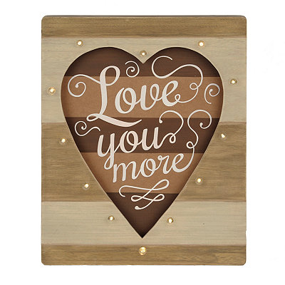 Love You More LED Wood Plank Plaque
