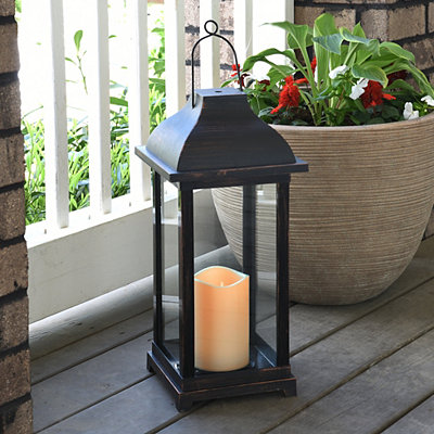 Dark Rubbed Bronze LED Lantern