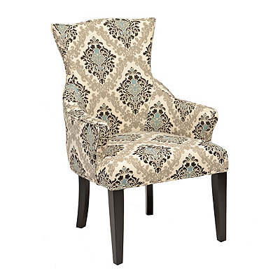 Taupe Damask Amsterdam Accent Chair