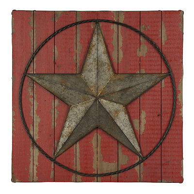 Red Rustic Star Wood Plank Plaque
