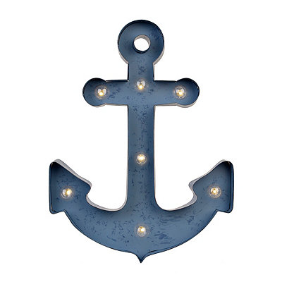 Aqua LED Anchor Metal Plaque