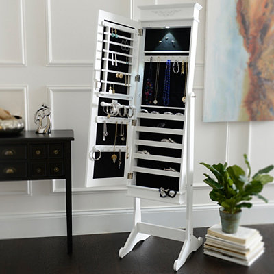 White Cheval LED Jewelry Armoire Mirror