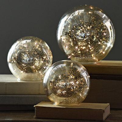 Pre-Lit Gold Mercury Glass Orb, 8 in.