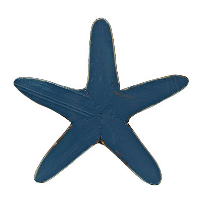 Antique Blue Starfish Wooden Plaque