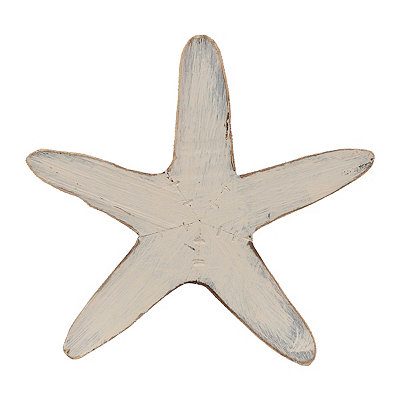 Antique White Starfish Wooden Plaque