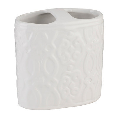 Jade White Ceramic Toothbrush Holder
