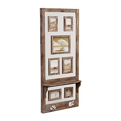 Rustic Wooden Collage Frame with Hooks