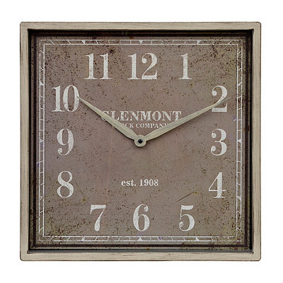 Distressed Cream Square Clock