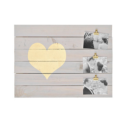 Gold Heart 3-Clip Signature Collage Frame