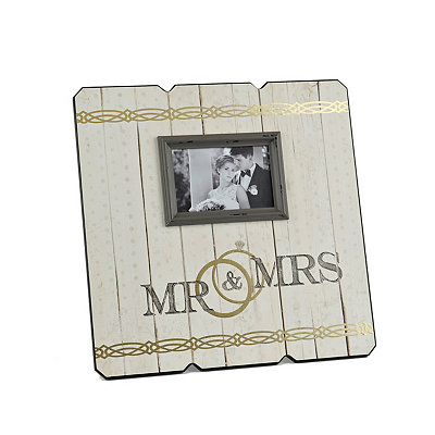 Mr. and Mrs. Wood Plank Picture Frame, 4x6
