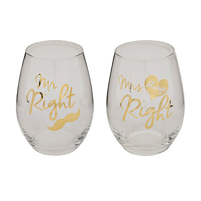 Mr. & Mrs. Right Stemless Wine Glasses, Set of 2