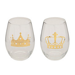 Royal Crowns Stemless Wine Glasses, Set of 2