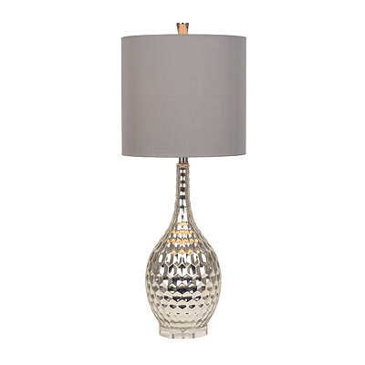 Dimpled Silver Glass Table Lamp