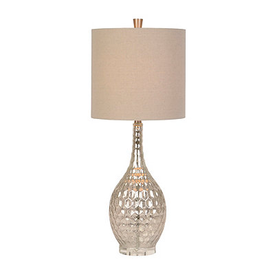Dimpled Silver Mercury Glass Table Lamp