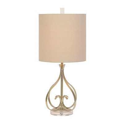 Silver Leaf Scroll Metal Table Lamp